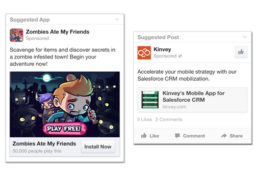 Suggested Apps and Posts Facebook Ads